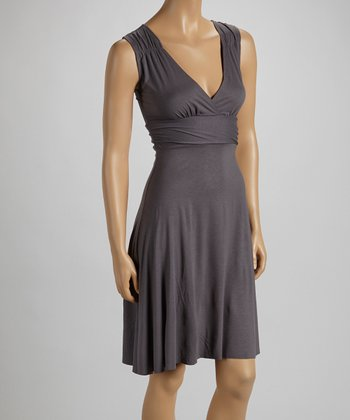 Slate Gray Surplice Empire-Waist Dress