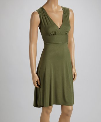 Olive Surplice Empire-Waist Dress