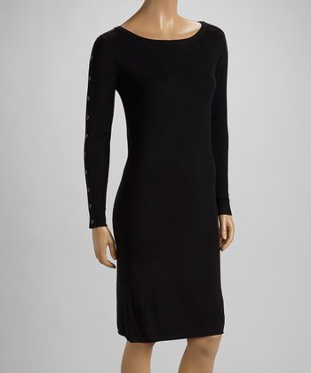 Black Button-Sleeve Sweater Dress
