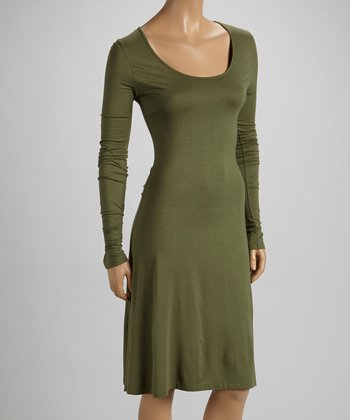 Dusty Olive Long-Sleeve Scoop Neck Dress