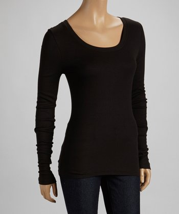 Black Scoop Neck Long-Sleeve Top
