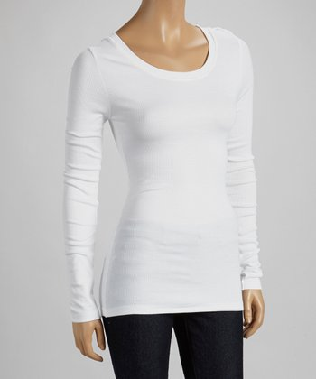 White Scoop Neck Long-Sleeve Top