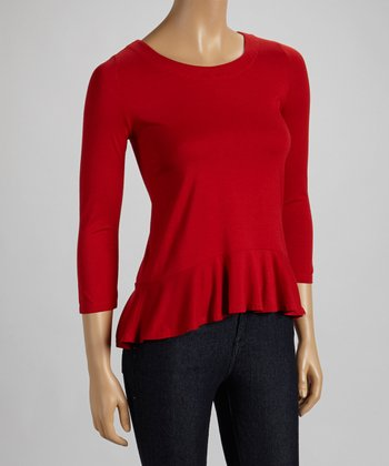 Garnet Peplum Three-Quarter Sleeve Top