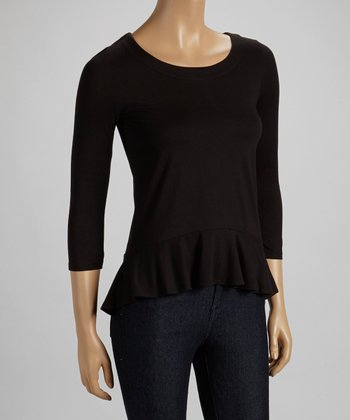 Black Peplum Three-Quarter Sleeve Top