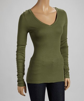Dusty Olive V-Neck Long-Sleeve Top