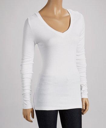 White Ribbed V-Neck Top