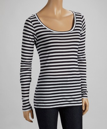 French Navy & White Stripe Scoop Neck Top