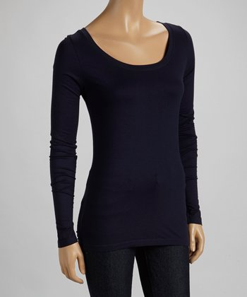 French Navy Scoop Neck Long-Sleeve Top