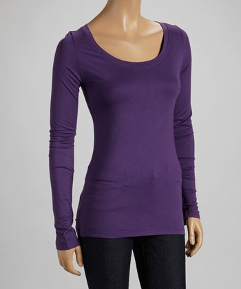 Amethyst Scoop Neck Long-Sleeve Top