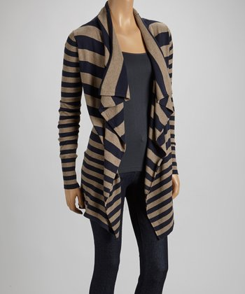 Mocha & Navy Stripe Open Cardigan