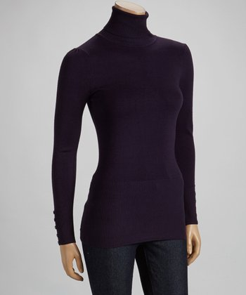 Deep Purple Button-Sleeve Turtleneck Sweater