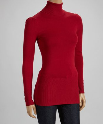 Red Button-Sleeve Turtleneck Sweater