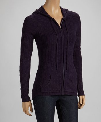 Deep Purple Zip-Up Cable-Knit Hoodie