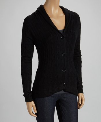 Black Shawl Cable-Knit Cardigan