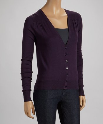 Deep Purple V-Neck Cardigan