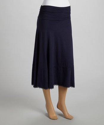French Navy Lace Convertible Skirt