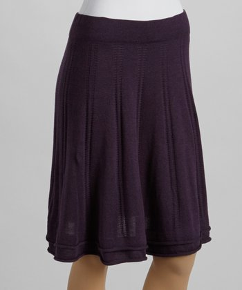 Deep Purple Pointelle Sweater Skirt