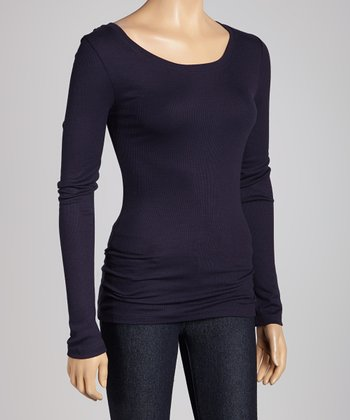 French Navy Ribbed Scoop Neck Top