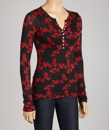 Black & Poppy Floral Sheer Henley