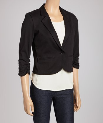 Black Jersey-Knit Crop Blazer