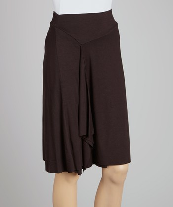 Black Double-Layer Drape Skirt
