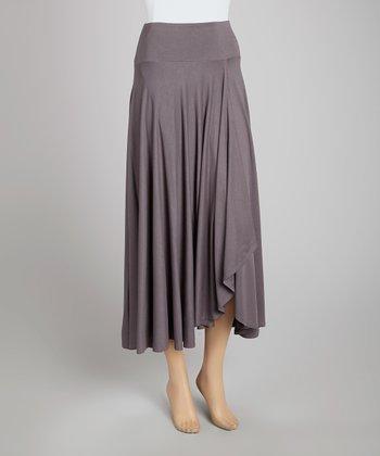 Slate Gray Faux Wrap Skirt