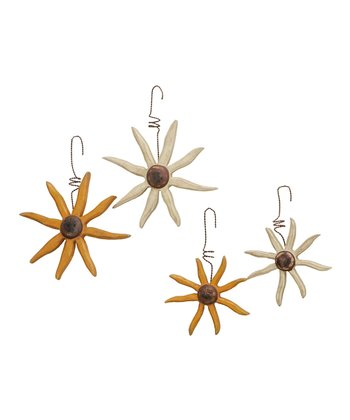 Wooden Flower Ornament Set