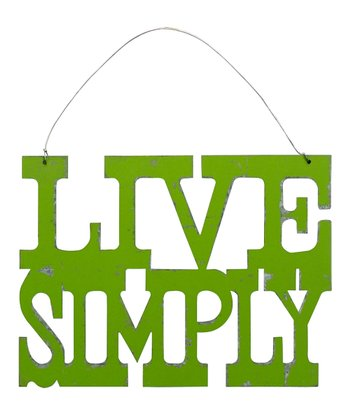 Green 'Live Simply' Sign