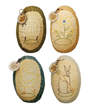 Large Spring Fabric Decorative Egg Set