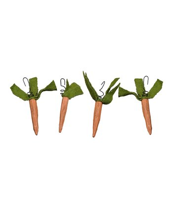 Wooden Carrot Ornament Set