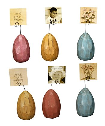Carved Egg Photo Place Card Holder Set