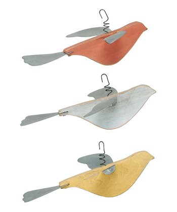 Red, White & Yellow Bird Ornament Set