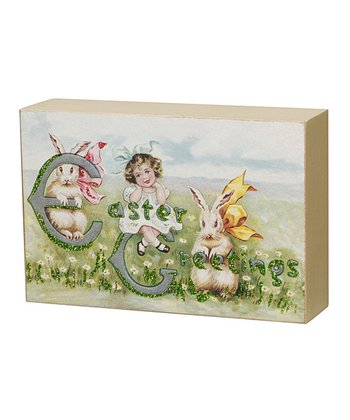 Easter Girl Vintage Box Sign