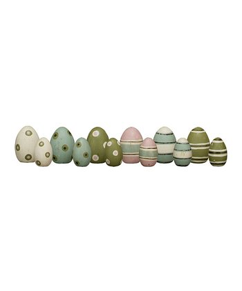 Stripe & Spot Decorated Wooden Egg Set