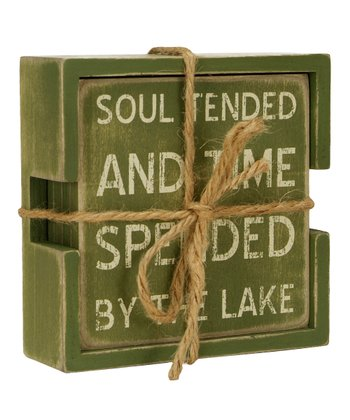Green 'Soul Tended' Coaster - Set of Four