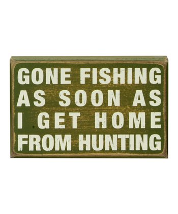 Green 'Gone Fishing' Box Sign