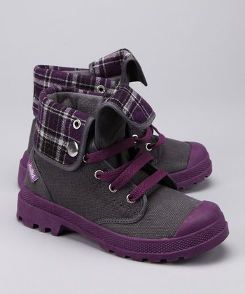 Southpole Dark Gray & Purple Combat Boot