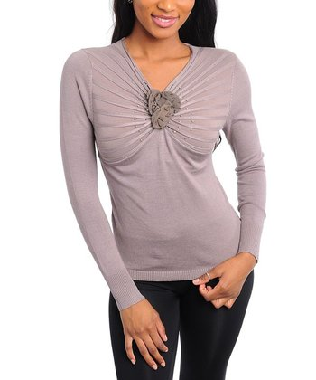 Mocha & Tan Long-Sleeve Top