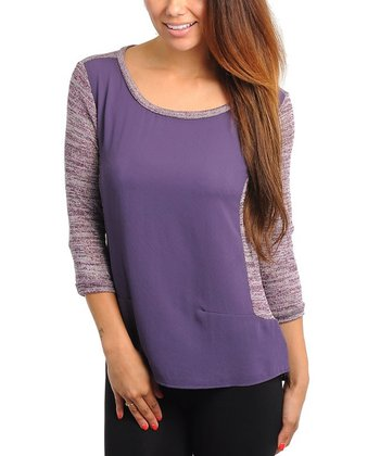 Purple Heathered Three-Quarter Sleeve Top