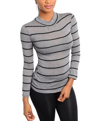 Gray Stripe Mock Neck Top