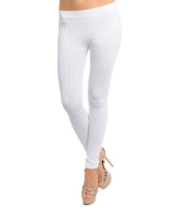 White Cable-Knit Leggings - Women