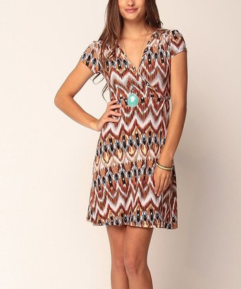 Mocha & White Meghan Wrap Dress