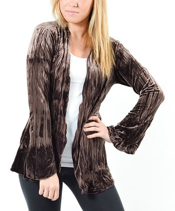 Brown Shimmer Maddy Open Cardigan