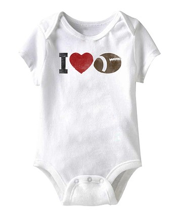 White 'I Love Football' Bodysuit - Infant