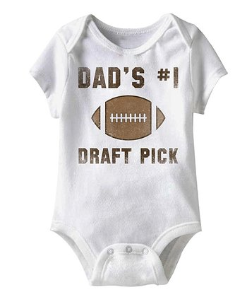 White 'Dad's Number One Draft Pick' Bodysuit - Infant