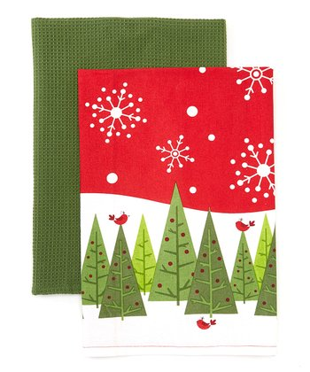 Trees & Bird Christmas Kitchen Dish Towel Set