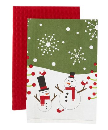 Snowmen & Birds Christmas Kitchen Dish Towel Set
