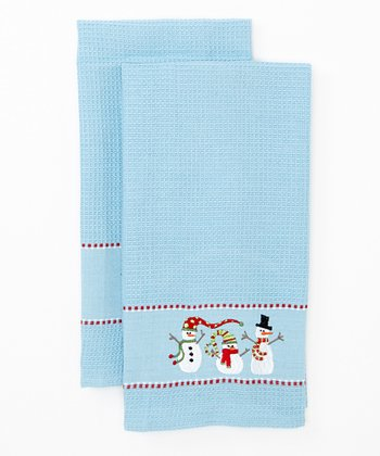 Winter Fun Snowmen Embroidered Dish Towel - Set of Two