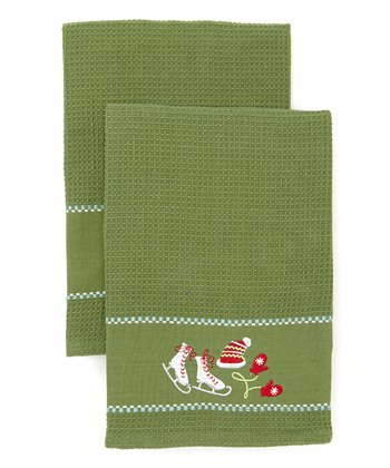 Winter Fun Embroidered Dish Towel - Set of Two