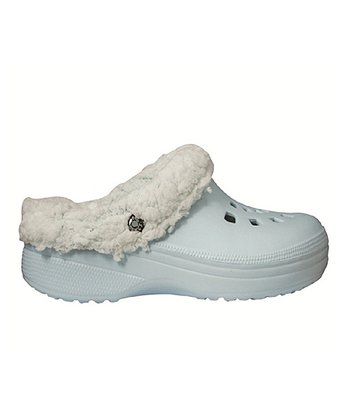 Light Blue Fleece Clog - Women